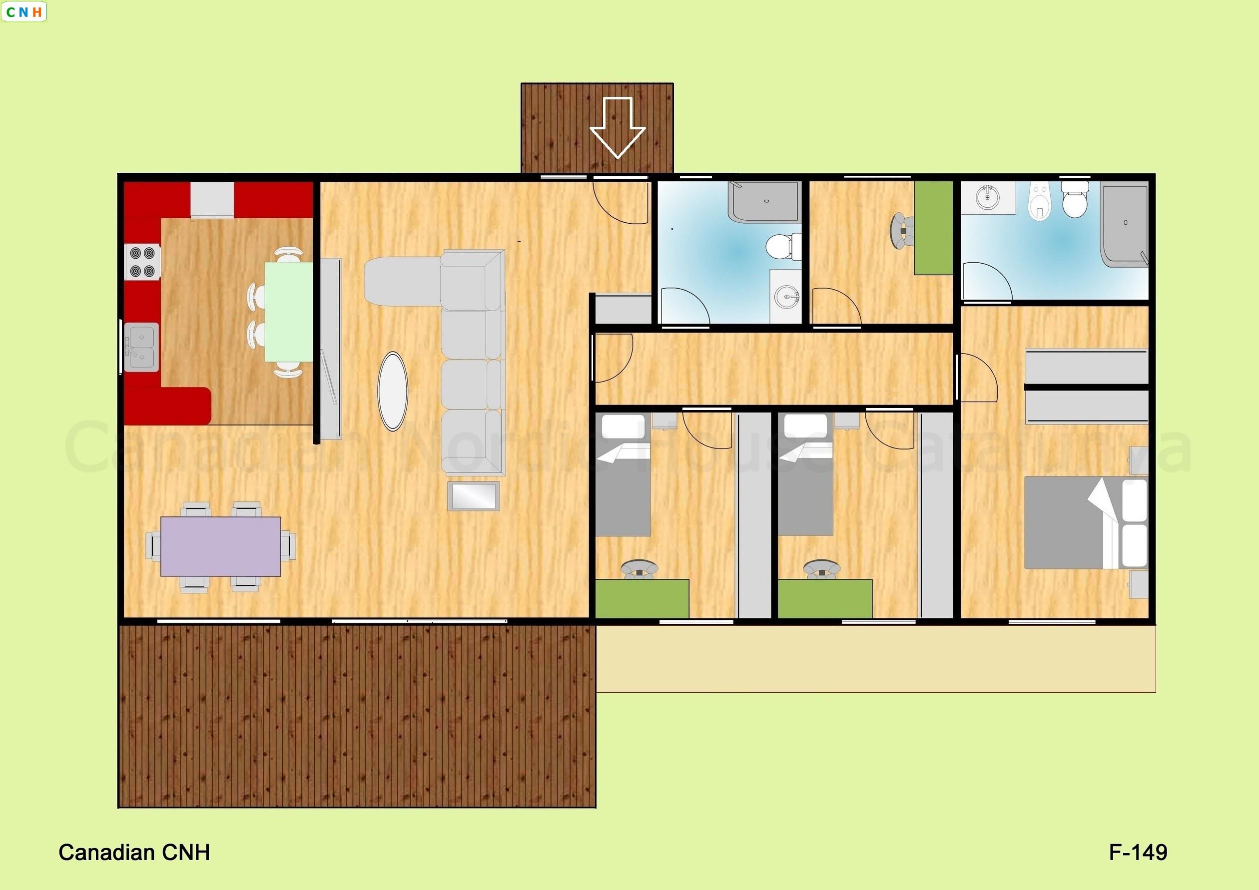 3 habitaciones 4 habitaciones - Construcciones de casas de madera ...